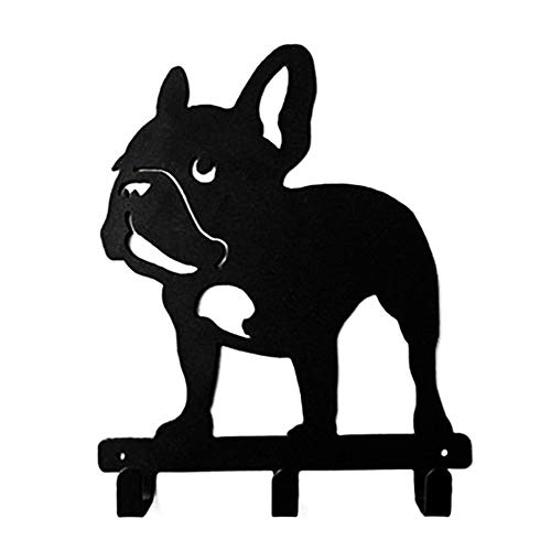 French Bulldog Shaped Black Coated Metal Hook Bathroom Clothes Towel Hook Wall Mounted Kitchen Heavy Duty Door Hanger (Standing Frenchie)
