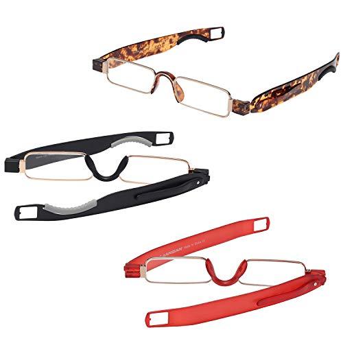 LianSan Faltbare Lesebrille 3 Paar Packungen schlank Mini tragbare leichte Männer Frauen Brillen Lesegeräte 1,0 1,5 2,0 2,5 3,0 3,5 4,0 L7020 (Schildkröte schwarz rot, 1.00)