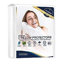 SLEEPZEN Funda de Almohada Impermeables 50x80 - Juego de 2 - Felpa 100% Algodón Bi-Home, Protector de Almohada - Anti-ácaros, Antibacteriano, Anti-Hongos e Hipoalérgico - Garantía de 15 años