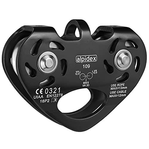 ALPIDEX Seilrolle Tandem Pulley Umlenkrolle Doppelseilrolle - geeignet für Stahlseile 8-12 mm Ø und Textilseile bis 13 mm Ø, Farbe:schwarz