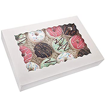 Tcoivs 20-Pack 16  x 11  x 2.5  Bakery Boxes with Window Hold 12 Donuts Auto-Popup Large Cookie Boxes for Pies Cakes Muffins and Pastries  White