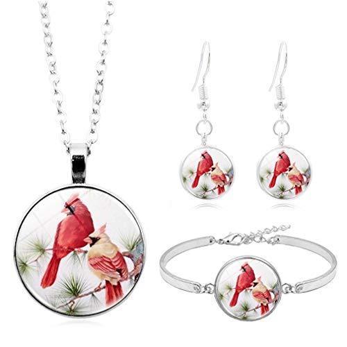 WEIHEEE Color Animal Gancho Pendientes Redondo Lentejuelas Colgante Collar Dibujos Animados Ajustable Pulsera Cumpleaños Joyería Set Regalos
