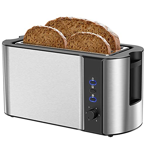Toaster 4 Slice, Long Slot Toaster, Stainless Steel 4 Slice Toaster, Extra Wide Slot Toaster with Defrost Cancel Reheat, Toaster For Artisan Bread Muffins, 6 Shade Setting & Crumb Tray, Silver