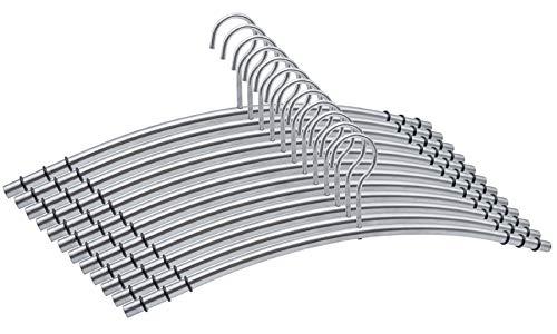Momex 12 hochwertige & robuste Premium Kleiderbügel Metall aus Edelstahl 100% rutschfest gummiert platzsparend [12 Stück]