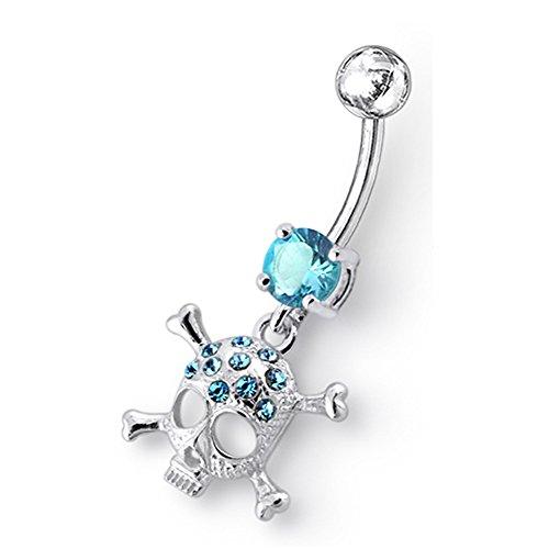 Blue Crystal Stein Trendy Kreuz Totenkopf Design Sterling Silber Bauch Lichtleisten Piercing