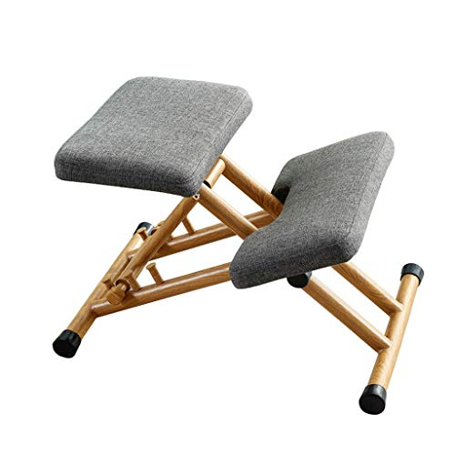 LJF Height Adjustable Kneeling Posture Chair, Ergonomic Kneeling Chair, Adjustable Stool for Bad Backs Neck Pain & Spine Tension Relief, Rocking Orthopedic Kneel Seat (Color : Gray)