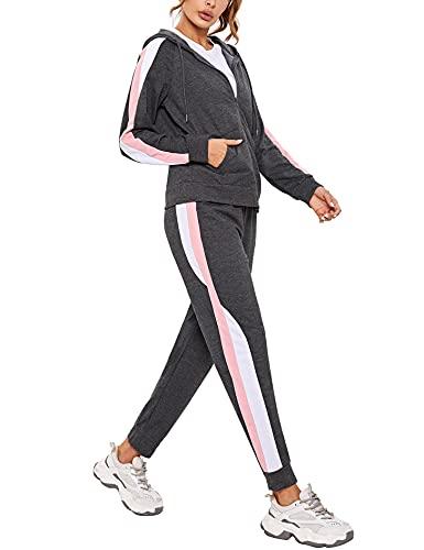 Litherday Tuta Donna Cotone Completo Sportiva Donna Tuta Donna Sportiva Tuta Donna Elegante Tuta da Jogging Ampia da Donna Adatto per La Corsa e L'abbigliamento Casual da Casa Grigio scuro XL