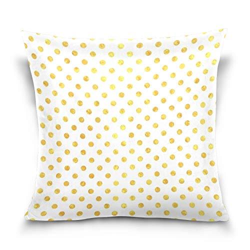 HMZXZ Funda de almohada de 45,7 x 45,7 cm, diseño de lunares dorados, para sofá, dormitorio, sala de estar