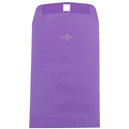 JAM PAPER 6 x 9 Open End Catalog Colored Envelopes with Clasp Closure - Violet Purple Recycled - 10/Pack