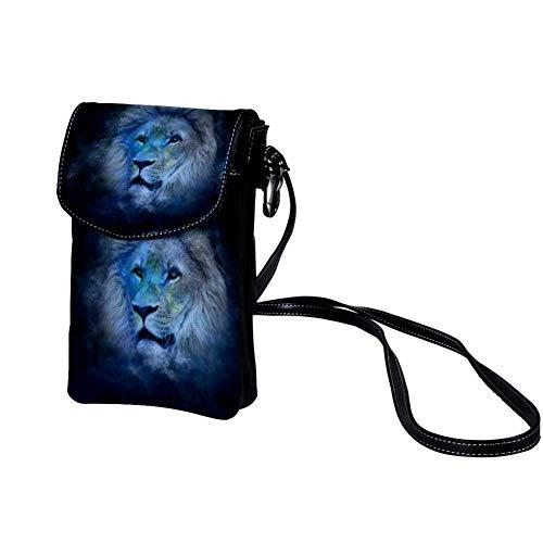 Xingruyun Kleine Umhängetasche Sternbild Löwe Leder Handtasche Mini Handy Schultertasche Cross-Body Tasche Geldbörse Für Mädchen Frauen 19x12x2cm