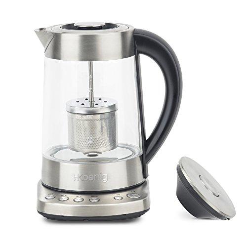 H.Koenig TI700Teiera automatica per tè tisane, Filtro rimovibile, Acciaio Inox Vetro, 1,7L, 2400W