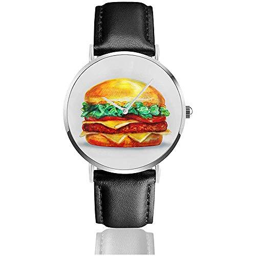 Hamburger, getekend met gekleurde potloden, in Grunge stijl met ruimte voor tekst, Retro stijl lederen horloges voor heren polshorloge