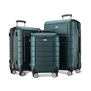 SHOWKOO Luggage Sets Expandable PC+ABS Durable...