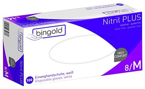 Wegwerphandschoenen Nitril 35PLUS, blauw of wit, pak van 100, maten S, M, L of XL, M, wit, 100