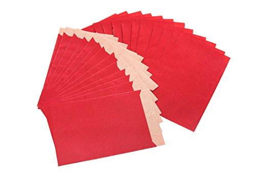 Logbuch-Verlag 100 kleine Papiertüten rot 13 x 18 cm + 2 cm Lasche - Mini Geschenktüte Verpackung Tüte aus Papier - Flachbeutel zum Verpacken
