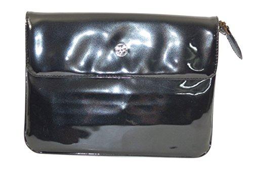 piero guidi Pochette in Vernice Nero 27 x 20 x 1 cm