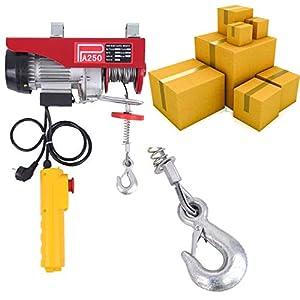 Paneltech Cabrestante Eléctrico 200kg / 250kg / 600kg / 800kg / 1000kg Polipasto eléctrico Electrico Winche con control remoto por cable (250kg)