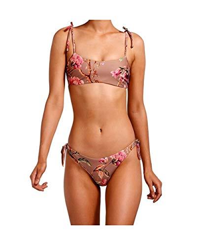 Multi-cord Bloem Print Sling Fringe Split Bikini Badpak YSJ