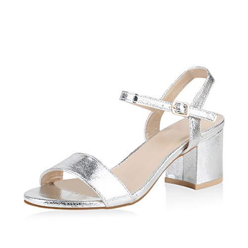 SCARPE VITA Damen Riemchensandaletten Blockabsatz Sandaletten Sommer Schuhe Mid Heel Absatzschuhe Klassische Metallic 173917 Silber Metallic 36