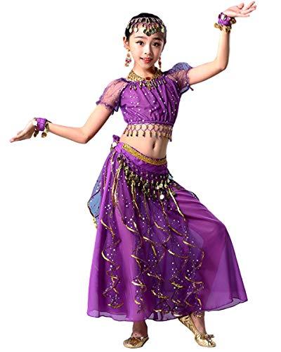 Grouptap Bollywood niños Indio Encaje Cinta árabe Danza del Vientre Desgaste niñas Fiesta Falda Vestido Elegante Disfraz Azul/Rosa/púrpura niños Bailarina Traje