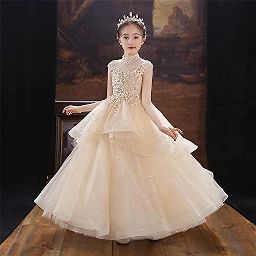SUNXC Niñas Disfraces de Princesa, Vestido de Noche de Acero de Hilo Esponjoso con Falda de Princesa-Amarillo_150cm,Niño Cumpleaños Fiesta Vestido de Princesa