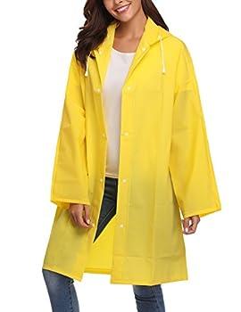 PVC Raincoat Durable EVA Rain Cape Rain Poncho with Hat Outdoor Travel Yellow XL