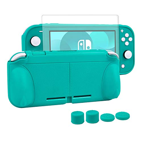 CHIN FAI Grip Case with Screen Protector for Nintendo Switch Lite 2019, Hard TPU Protective Case Cover for Switch Lite [Self Stand][4 Thumb Stick Caps] (Turquoise)