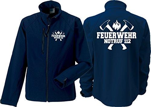 feuer1 Softshelljacke(medium) Navy, Feuerwehr Notruf 112 mit Äxten in weiß