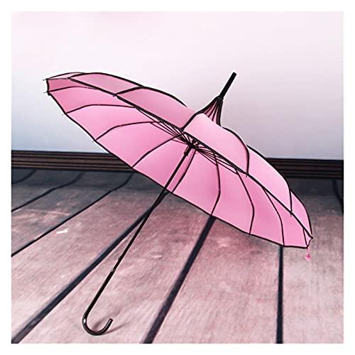 Paraguas 16k Mango Largo Asa Recta Bridal Boda Al Aire Libre Parasol Lluvia Y Sol Paraguas De Doble Propósito (Color : Pink)