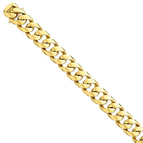 Diamond2Deal - Bracciale da donna in oro giallo 14 kt, 16,15 mm, con maglie fantasie, 22,9 cm