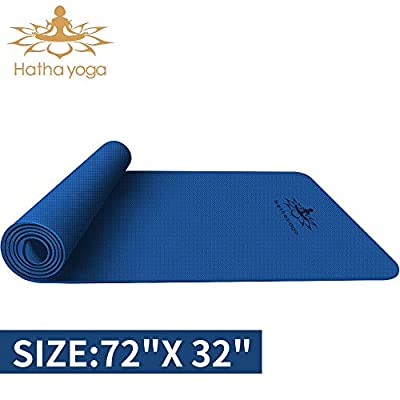 "Hatha yoga PRO TPE Yoga Mat - 72""x 32"" Thickness 1/4 inch -Eco Friendly SGS Certified -Non Slip Bolster with Carrying Bag for Home Gym, Pilates & Floor Outdoor Exercises (Blue)"