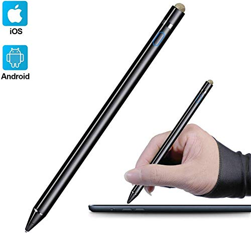 iFoxtEK aktiver Pen,wiederaufladbar Eingabestift mit Einstellbarer feiner Spitze Active Stylus Stift Pencil kompatibel für Apple ipad iPhone Samsung Surface Huawei HP Touchscreen Tablet (Mattschwarz)