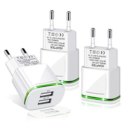 LUOATIP USB Ladegerät Stecker 2.1A 3-Pack Ladeadapter 2 Ports Netzteil Adapter Stromadapter Netzstecker Steckdose Ladestecker kompatibel für Phone 11 XR X XS Max 8 7 6 6S Plus 5S, Samsung, Handy