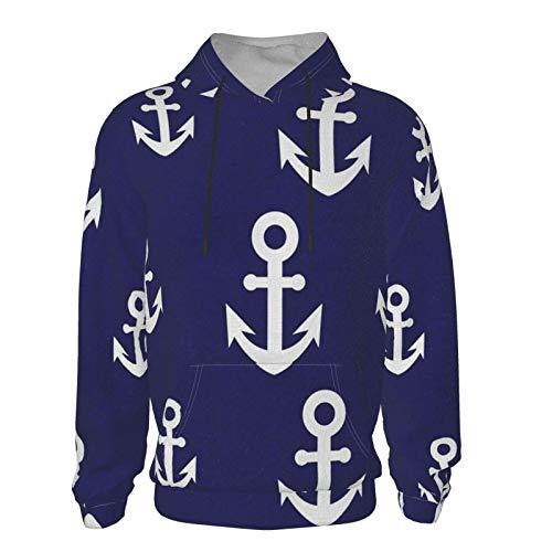 Anchor Nautical Pattern Navy Boys Sudadera de manga larga con capucha y estampado náutico azul marino con capucha y bolsillo frontal unisex