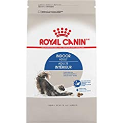 Royal Canin indoor adult dry cat food is formulated for healthy cats 1-7 years old Helps move hairballs formed while grooming through a cat's digestive system with an optimal blend of fibers Controlled calorie content adapted for an indoor cat's leis...
