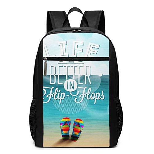 Schulrucksack Das Leben ist Besser Flip Flops, Schultaschen Teenager Rucksack Schultasche Schulrucksäcke Backpack für Damen Herren Junge Mädchen 15,6 Zoll Notebook