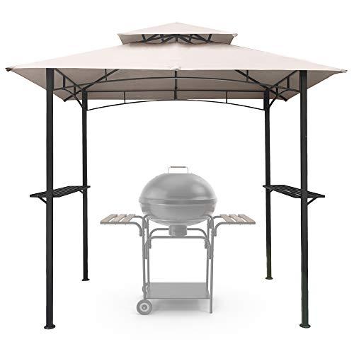 ASTEROUTDOOR 8x5 Outdoor Grill Gazebo 2-Tier Vented BBQ Canopy Steel Frame, Beige