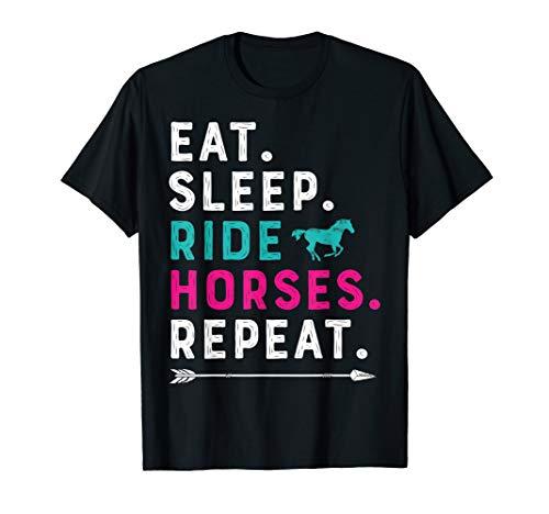 Eat Sleep Ride Horses Repeat Horse Girl Horseback Riding T-Shirt