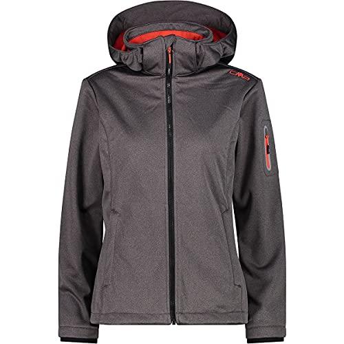 CMP Windproof And Waterproof Softshell Melange Jacket WP 7,000, Woman, Nero Mel.-Grenadine, 42