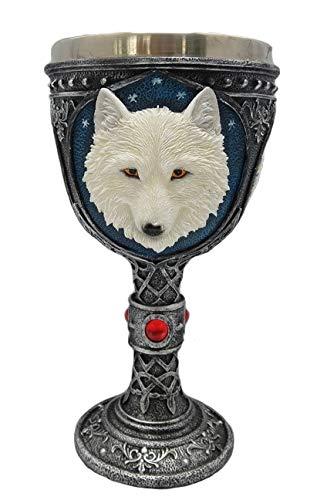 Figurine Loup, Coupe A VIN Loup Blanc en Etain ET POLYRESINE (HT 19.5 X Largeur 8.3 cm) - 3D Relief
