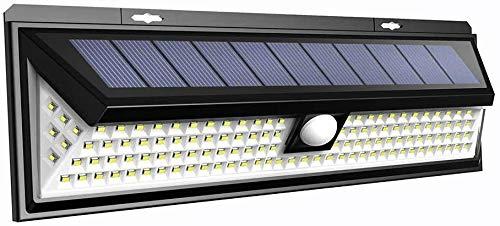 LTPAG Lamparas Solares LED Exterior, 118 LED Foco LED Solar con Sensor de Movimiento, 3 Modos Luces Solares Jardin Exterior IP65 Impermeable Farolas Luz de Caminos Iluminación de Patio y Terraza