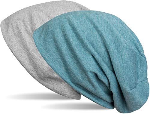 styleBREAKER Beanie Wendemütze in Unifarben, Slouch Mütze, leicht und weich, Longbeanie, Unisex 04024115, Farbe:Grau meliert/Blau meliert