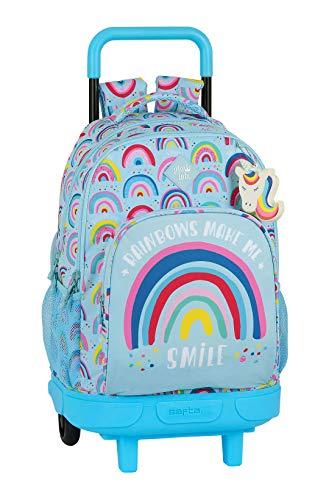 Safta Mochila Escolar con Carro Incluido y Espalada Acolchada de Glowlab, Multicolor (Rainbow)