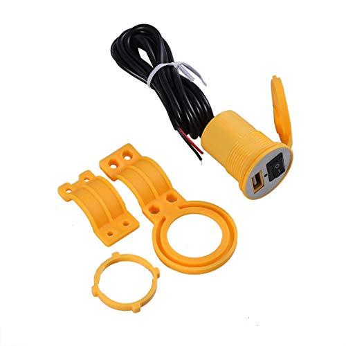 LIOOBO Wasserdichtes Motorrad USB-Ladegerät-Kit SAE zu Einem USB-Ladegerät für iPhone, iPad, iPod, GPS, Kamera oder EIN beliebiges Smartphone 12-24 V (Gelb)