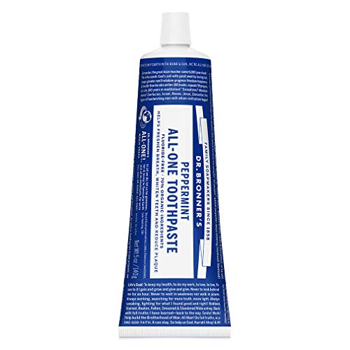 Dr. Bronner's - All-One Toothpaste (Peppermint, 5 ounce) - 70% Organic Ingredients, Natural...