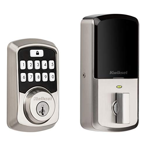 Kwikset 99420-001 Aura Bluetooth Programmable Keypad Door Lock Deadbolt Featuring SmartKey Security, Satin Nickel