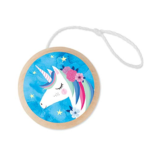 Mudpuppy Unicorn Wooden Yo-Yo – Beginner Yo-Yo for Ages 6 and Up, Dual-Sided Full Color Artwork – Step-by-Step Instructions Included, Classic Yo-Yo for Kids, Makes A Great Gift Idea, Multicolor