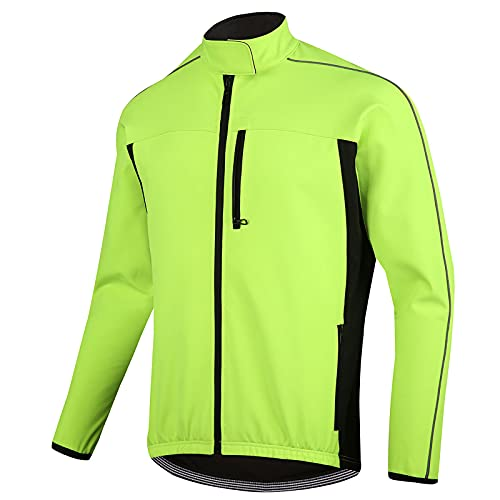 TDHLW Chaqueta Ciclismo de Invierno Abrigo Térmico para Hombre, Chaquetas de Ciclismo de Polar Impermeable a Prueba de Viento Cortavientos de Alta Visibilidad,Verde,XXL