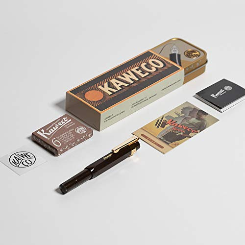Kaweco CLASSIC Sport Fountain Pen LIMITED EDITION Chocolate Brown, Fine Nib with Kaweco Sport Octagonal Clip Gold and Kaweco Fountain Pen Ink Cartridges short, Caramel Brown (Brown), Pack of 6.