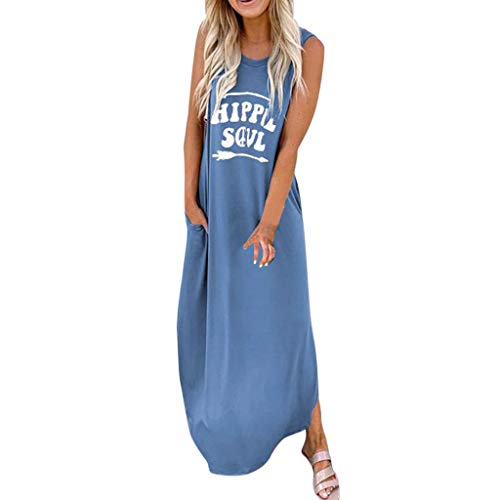 masrin Frauen kleiden Boho Fashion Hippie Soul Brief gedruckt O-Neck ärmellose beiläufige Maxi Lange Sommerkleid(XXXL,Blau)